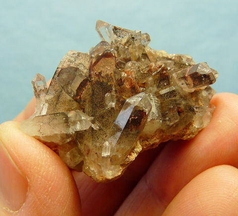 Small group of phantom quartz crystals
