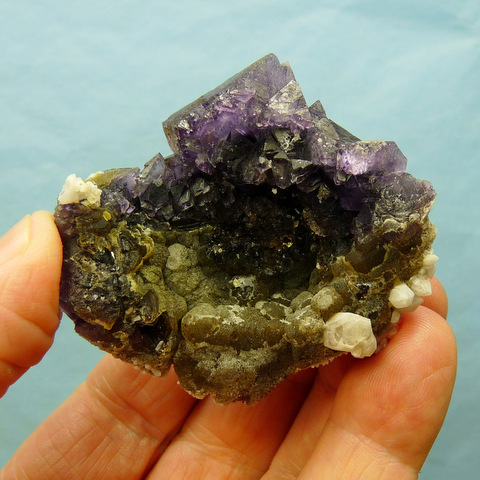 Purple and yellowish-green fluorite crystals with quartz