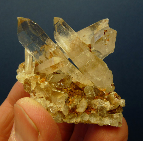 Western Cape quartz crystal group with interesting termination