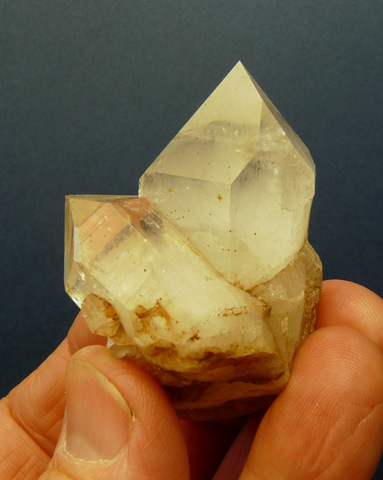 Quartz crystal group with minute clinochlore inclusions
