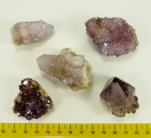 Five medium sized Brandberg quartz crystals in bulk