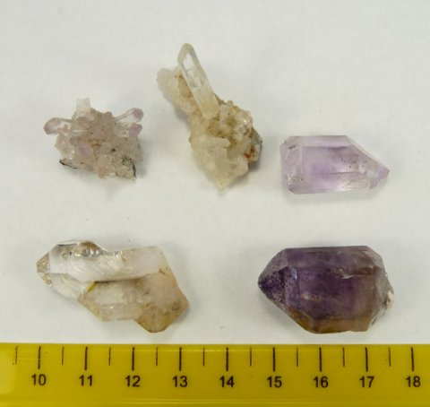 Five medium quality quartz crystal specimens