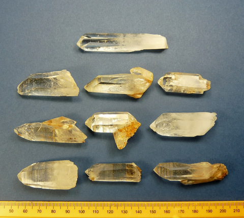 Ten quartz crystal specimens from Western Cape, SA