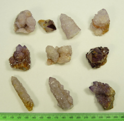 Ten cactus quartz crystal specimens