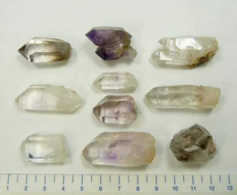Five Brandberg quartz crystals