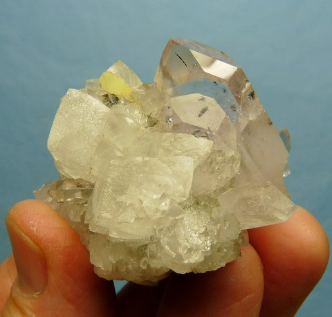 Beautiful Quartz / Calcite Cluster with prehnite, Brandberg, Namibia
