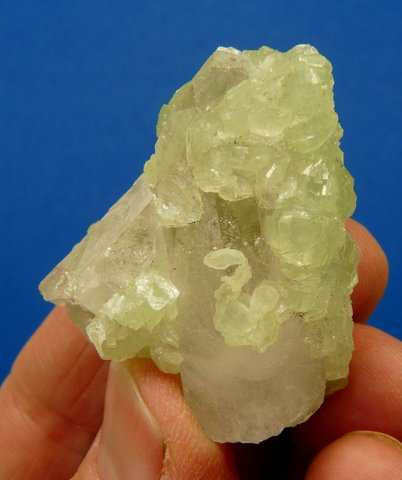 Quartz crystal group with prehnite coating