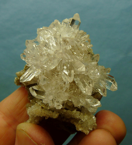 Gemmy quartz crystal cluster on delicate, unusual matrix