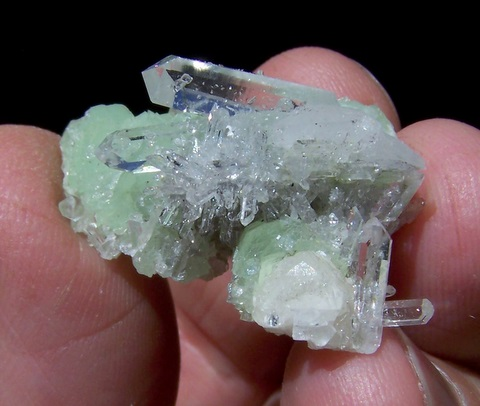 Beautiful prehnite and quartz cluster with small matrix