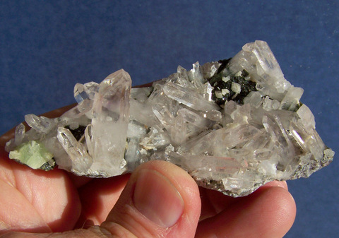 Quartz and Epidote Crystals with Calcite and Prehnite on Matrix