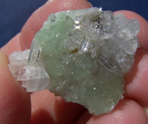 Gemmy Prehnite, Quartz, Calcite and Epidote Cluster