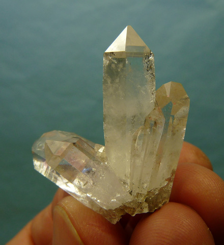 Beautiful quartz crystal group with faint amethyst clouds