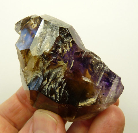 Smoky window quartz crystal with lovely amethyst patch