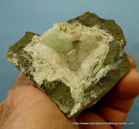 Very gemmy quartz crystal with fascinating gas inclusions and analcime + prehnite crystals