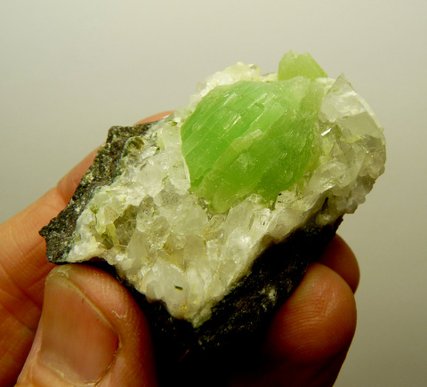 Beautiful domed aggregate of prehnite crystals on matrix