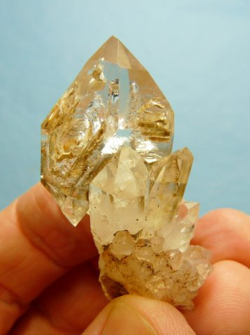 Quartz crystal specimen with interesting windows and growth patterns