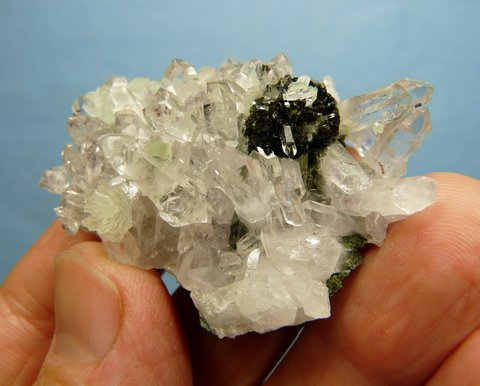 Stunning cluster of quartz, epidote and prehnite