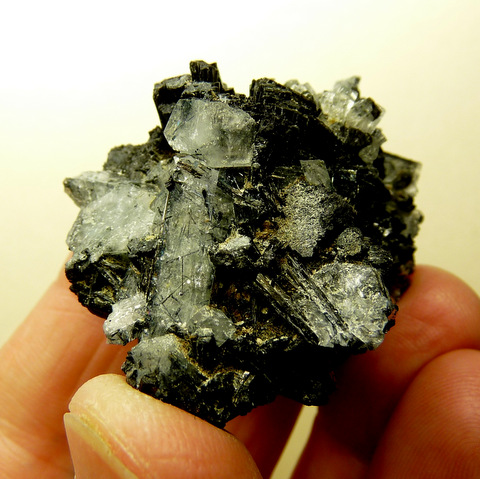 Aquamarine and schorl crystal group