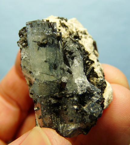 Aquamarine crystals with schorl inclusions