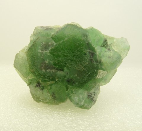 Green fluorite crystals with muscovite, hyalite opal and schorl