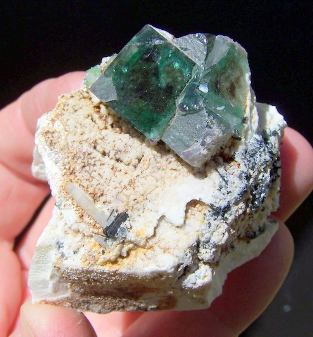 Fluorite crystal group on feldspar