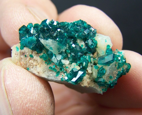 Gemmy dioptase crystals on quartz matrix