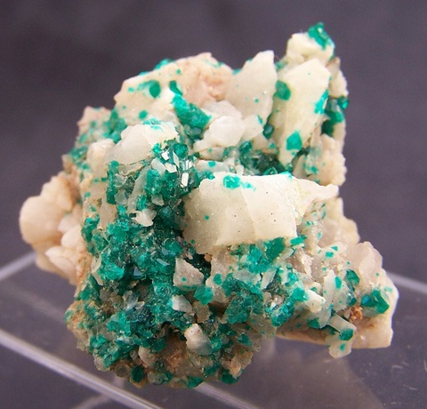 Dioptase crystals on milky quartz, Kaokoland, Northern Namibia