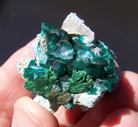 Dioptase crystals with malachite and planchéite on quartz