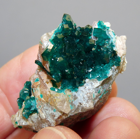 Geode with gemmy, dioptase crystal on quartz matrix