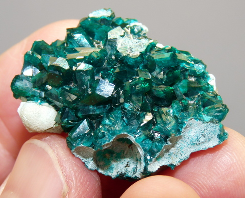 Gemmy dioptase crystals on matrix
