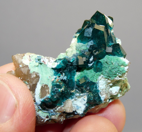 Gemmy dioptase crystals and malachite crystals on matrix