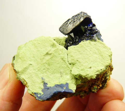 Azurite crystals on a conglomerate matrix