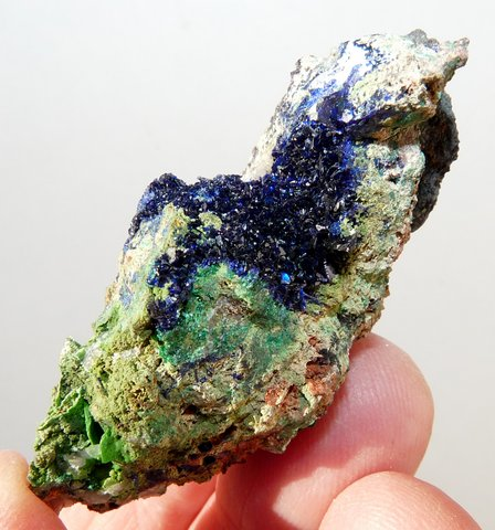Lovely, small geode of small, gemmy azurite crystals. Tsumeb