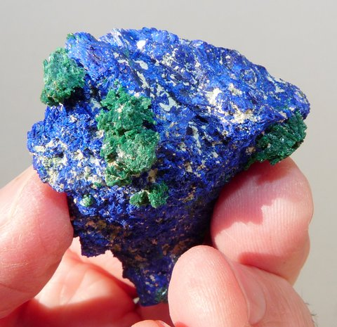 Intense blue azurite lump with malachite