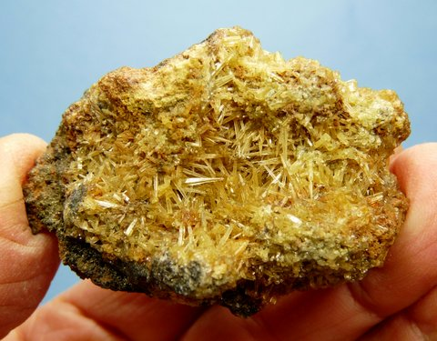 Yellow mimetite crystals on galena matrix