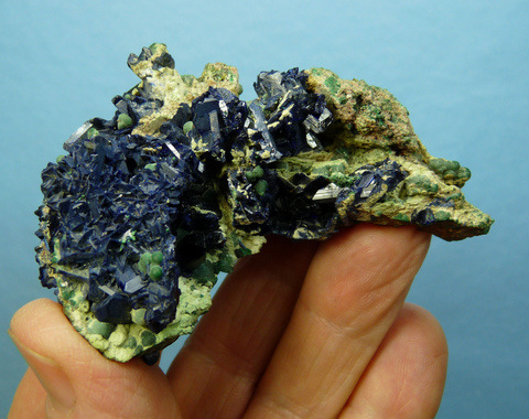 Beautiful, small group of azurite crystals on matrix