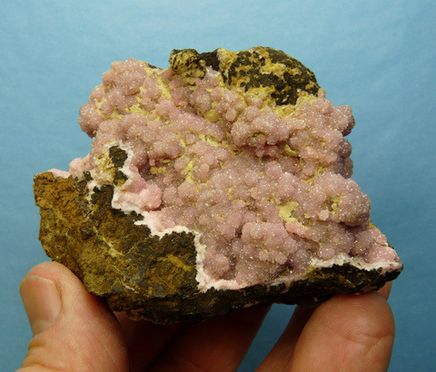 2-sided specimen drusy, sparkling, botryoidal rhodochrosite crystals, on matrix