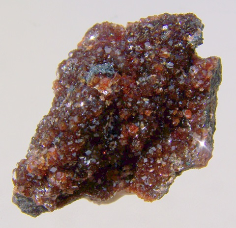 Drusy orangy-red garnets on matrix of manganite, Wessels mine