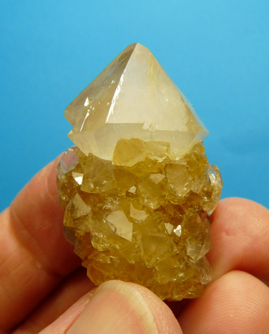 A beautiful, semi-clear cactus quartz crystal with patches of light yellowish colouring