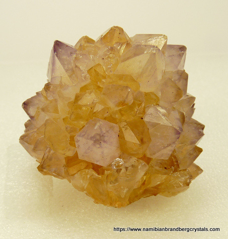 A group of semi-clear quartz crystals with very light amethyst colouring