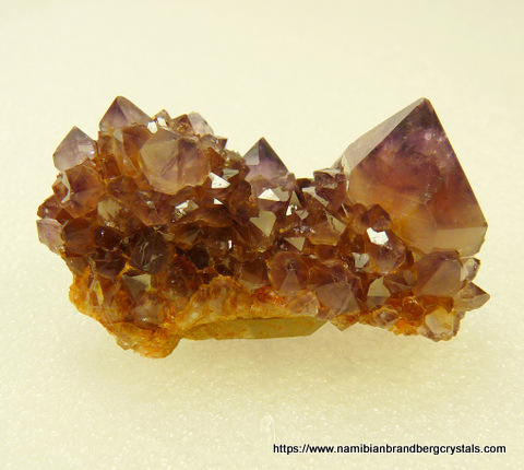 Light amethyst cactus quartz crystal group with iron oxide colouring, on matrix