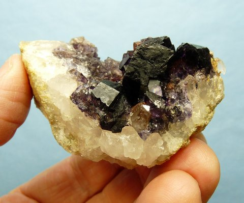 Dark purple fluorite crystals on matrix