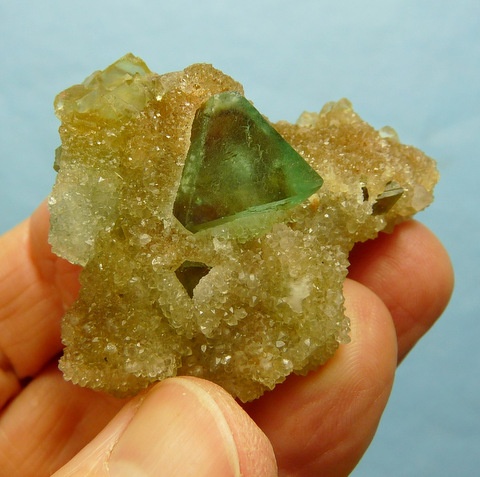 Green and yellow fluorite crystals in and on drusy chalcedony