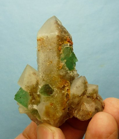 Green fluorite crystals in and on quartz crystals