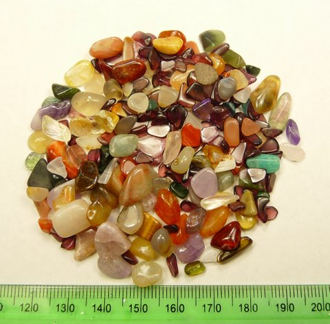Fourty grams of colourful, mixed tumbled stones