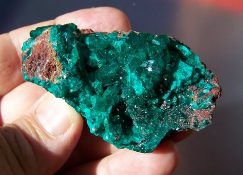 Gemmy dioptase crystals and rock dioptase on matrix, Africa