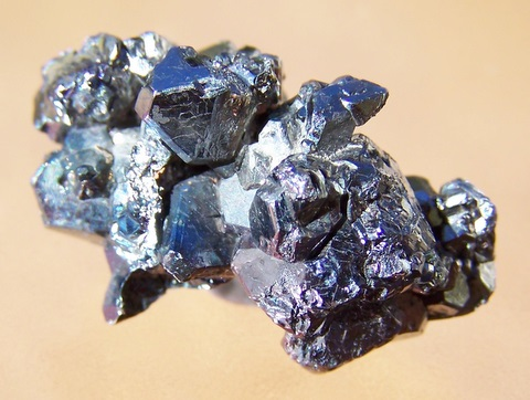 Cluster of carrollite crystals with high metallic lustre.